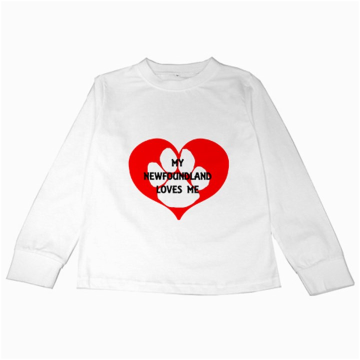 My Newfie Loves Me Kids Long Sleeve T-Shirts