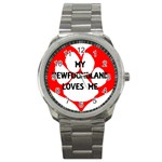 My Newfie Loves Me Sport Metal Watch Front