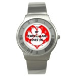 My Newfie Loves Me Stainless Steel Watch Front