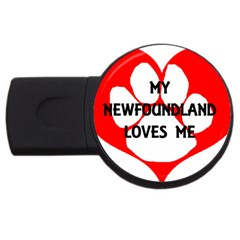 My Newfie Loves Me USB Flash Drive Round (4 GB)