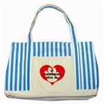 My Newfie Loves Me Striped Blue Tote Bag Front