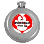My Newfie Loves Me Round Hip Flask (5 oz) Front