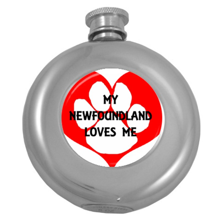My Newfie Loves Me Round Hip Flask (5 oz)