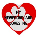 My Newfie Loves Me Heart Ornament (2 Sides) Front