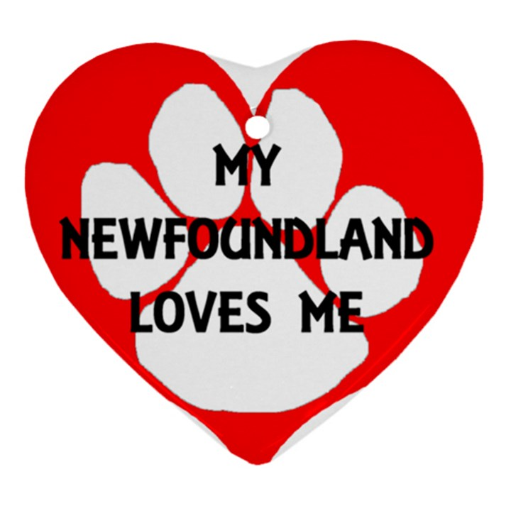 My Newfie Loves Me Heart Ornament (2 Sides)