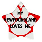 My Newfie Loves Me Star Ornament (Two Sides)  Front