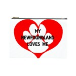 My Newfie Loves Me Cosmetic Bag (Large)  Front