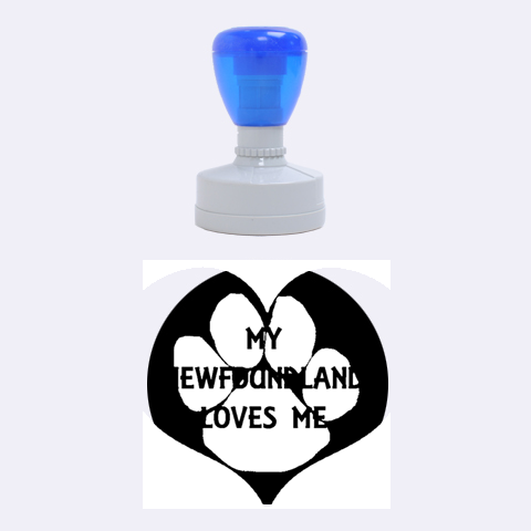 My Newfie Loves Me Rubber Round Stamps (Medium)