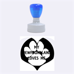 My Newfie Loves Me Rubber Round Stamps (Medium) 1.5 x1.5  Stamp