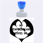 My Newfie Loves Me Rubber Round Stamps (Large) 1.875 x1.875  Stamp
