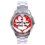 My Newfie Loves Me Stainless Steel Analogue Watch Front