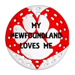 My Newfie Loves Me Round Filigree Ornament (2Side) Back