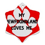 My Newfie Loves Me Snowflake Ornament (2-Side) Front