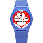 My Newfie Loves Me Round Plastic Sport Watch (S) Front