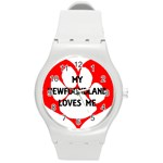 My Newfie Loves Me Round Plastic Sport Watch (M) Front
