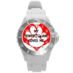 My Newfie Loves Me Round Plastic Sport Watch (L) Front