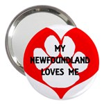 My Newfie Loves Me 3  Handbag Mirrors Front