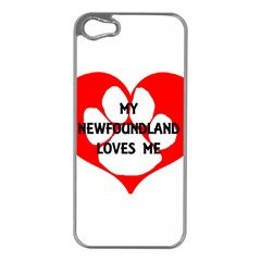 My Newfie Loves Me Apple iPhone 5 Case (Silver)