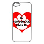 My Newfie Loves Me Apple iPhone 5 Case (Silver) Front