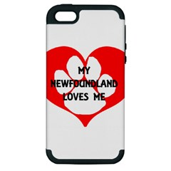 My Newfie Loves Me Apple iPhone 5 Hardshell Case (PC+Silicone)