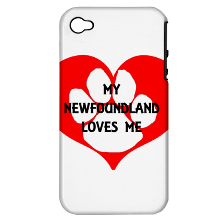 My Newfie Loves Me Apple iPhone 4/4S Hardshell Case (PC+Silicone)