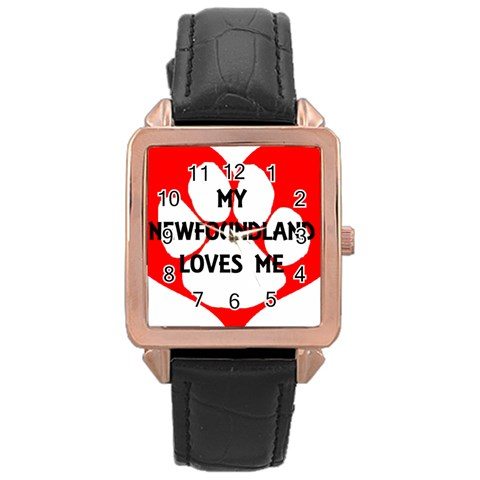 My Newfie Loves Me Rose Gold Leather Watch