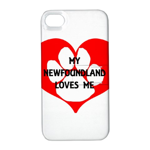 My Newfie Loves Me Apple iPhone 4/4S Hardshell Case with Stand