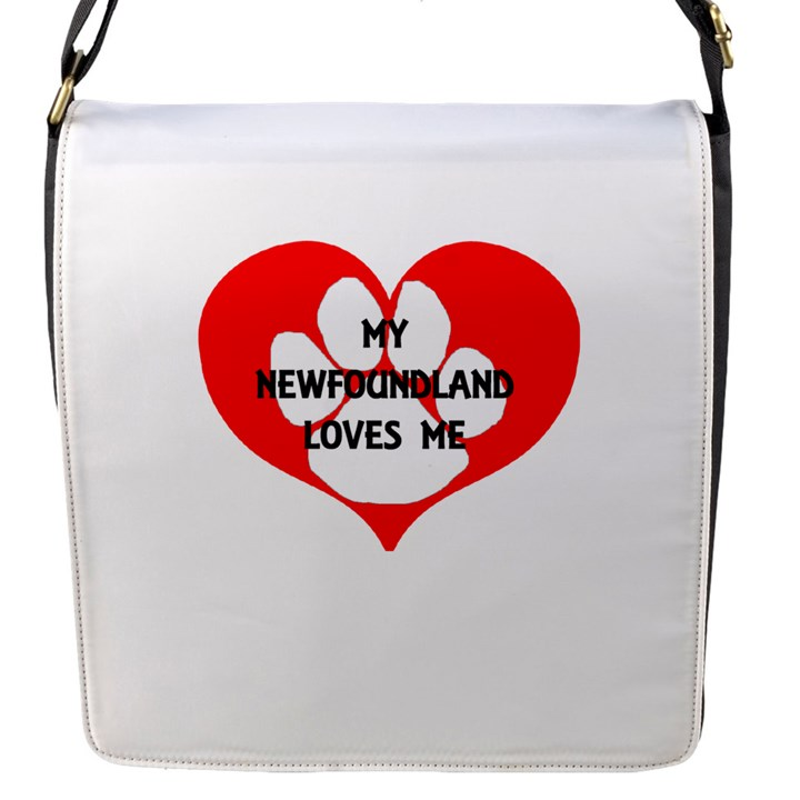 My Newfie Loves Me Flap Messenger Bag (S)