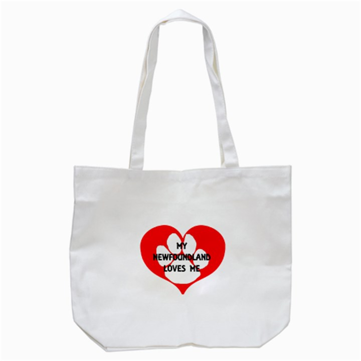 My Newfie Loves Me Tote Bag (White)