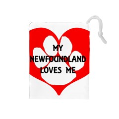 My Newfie Loves Me Drawstring Pouches (Medium)