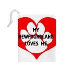 My Newfie Loves Me Drawstring Pouches (Medium)  Back