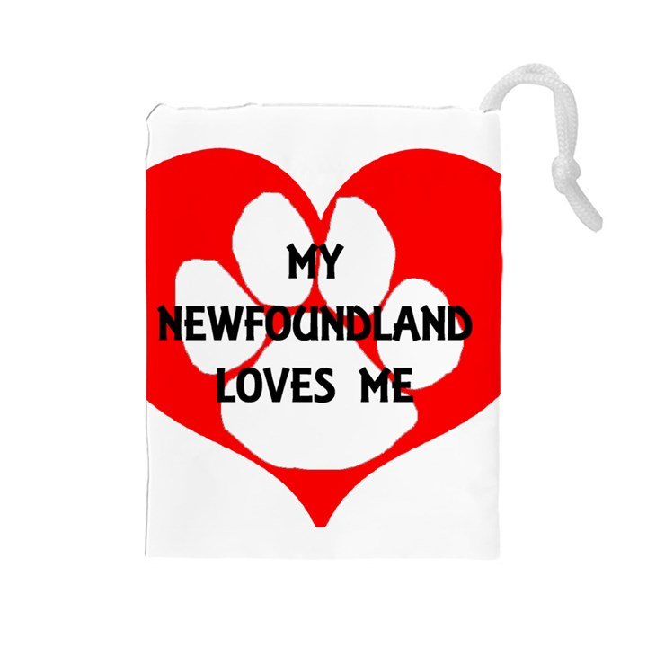 My Newfie Loves Me Drawstring Pouches (Large)