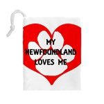 My Newfie Loves Me Drawstring Pouches (Large)  Back