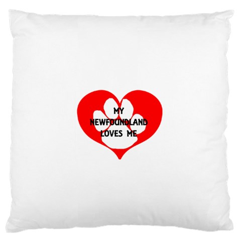 My Newfie Loves Me Large Flano Cushion Case (Two Sides)