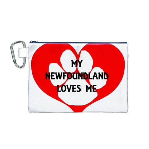 My Newfie Loves Me Canvas Cosmetic Bag (M)