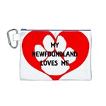 My Newfie Loves Me Canvas Cosmetic Bag (M) Front