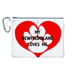 My Newfie Loves Me Canvas Cosmetic Bag (L)