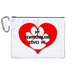 My Newfie Loves Me Canvas Cosmetic Bag (XL) Front