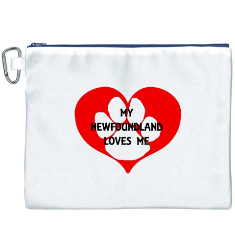 My Newfie Loves Me Canvas Cosmetic Bag (XXXL)