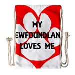 My Newfie Loves Me Drawstring Bag (Large) Front