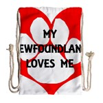 My Newfie Loves Me Drawstring Bag (Large) Back