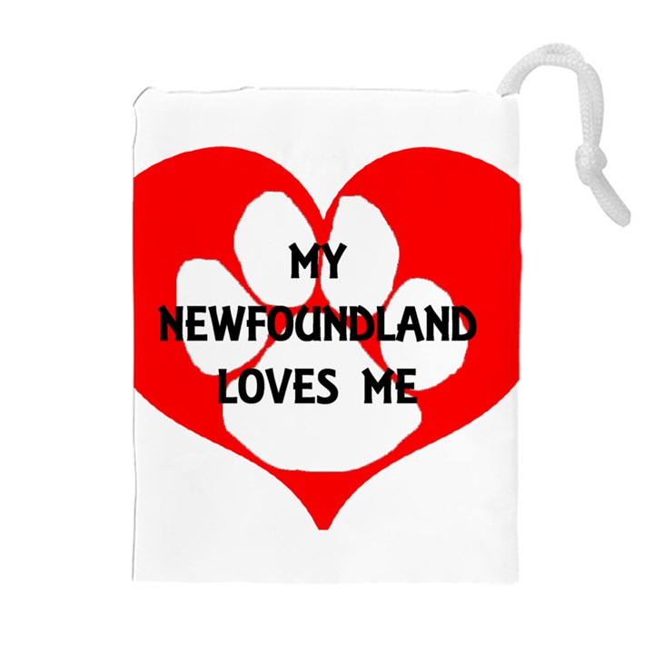 My Newfie Loves Me Drawstring Pouches (Extra Large)