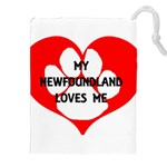 My Newfie Loves Me Drawstring Pouches (XXL) Front