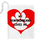 My Newfie Loves Me Drawstring Pouches (XXL) Back