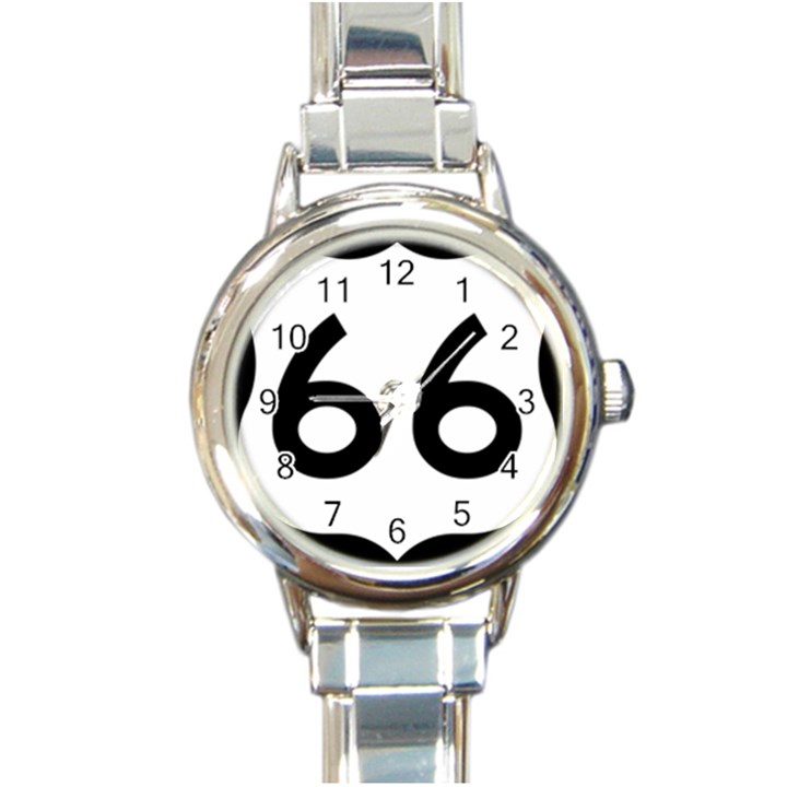 U.S. Route 66 Round Italian Charm Watch