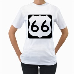 U.S. Route 66 Women s T-Shirt (White) (Two Sided)
