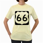 U.S. Route 66 Women s Yellow T-Shirt Front