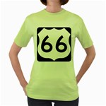 U.S. Route 66 Women s Green T-Shirt Front