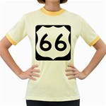 U.S. Route 66 Women s Fitted Ringer T-Shirts Front