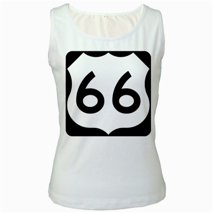 U.S. Route 66 Women s White Tank Top